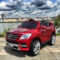 Электромобиль Mercedes Benz ML350 красный (резиновые колеса, кожа, пульт, музыка, глянцевая покраска)