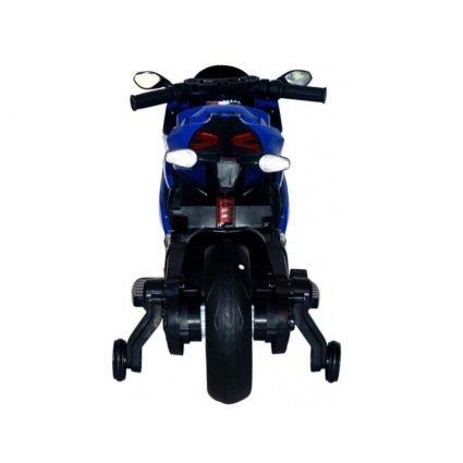 Детский электромотоцикл Ducati 12V- FT-1628 синий (колеся резина, сиденье кожа, музыка, страховочные колеса, ручка газа)