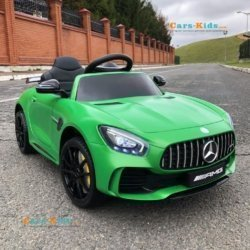 Электромобиль Mercedes-Benz GTR AMG HL288 зеленый матовый (колеса резина, кресло кожа, пульт, музыка)